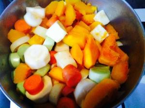 pumpkin soup ingredients chopped